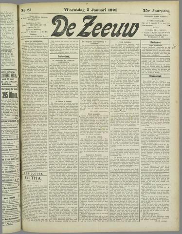 De Zeeuw. Christelijk-historisch nieuwsblad voor Zeeland 1921-01-05