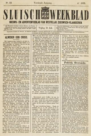 Sluisch Weekblad. Nieuws- en advertentieblad voor Westelijk Zeeuwsch-Vlaanderen 1873-07-11