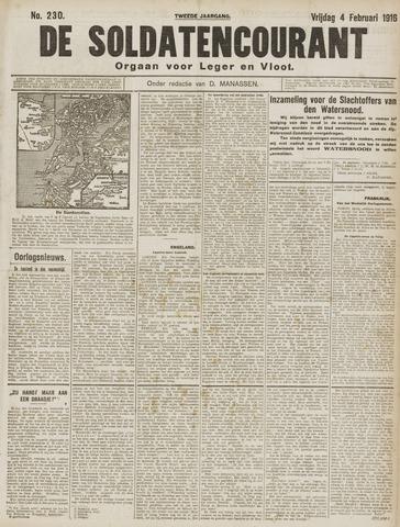 De Soldatencourant. Orgaan voor Leger en Vloot 1916-02-04