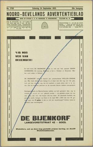 Noord-Bevelands Nieuws- en advertentieblad 1932-09-24