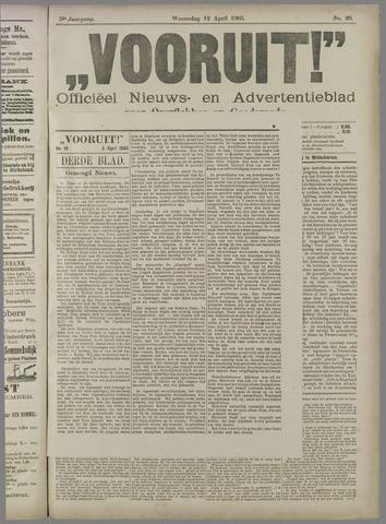 """""""Vooruit!""""Officieel Nieuws- en Advertentieblad voor Overflakkee en Goedereede 1905-04-12"""