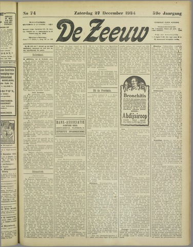 De Zeeuw. Christelijk-historisch nieuwsblad voor Zeeland 1924-12-27