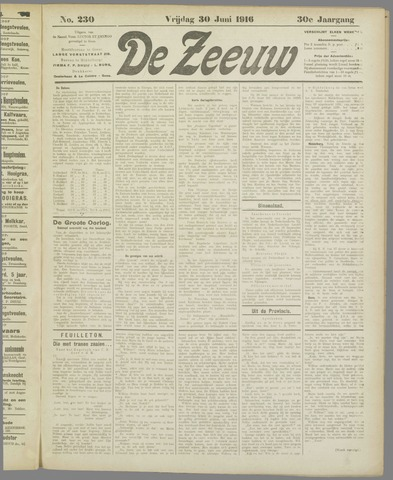 De Zeeuw. Christelijk-historisch nieuwsblad voor Zeeland 1916-06-30
