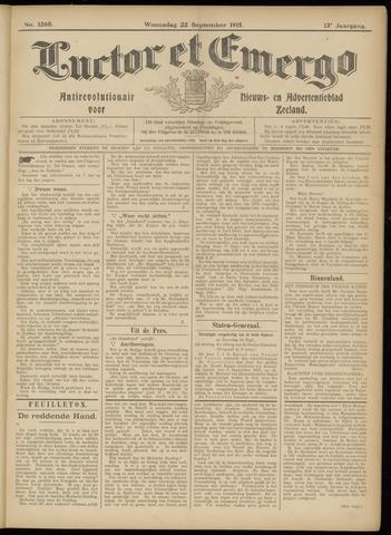 Luctor et Emergo. Antirevolutionair nieuws- en advertentieblad voor Zeeland / Zeeuwsch-Vlaanderen. Orgaan ter verspreiding van de christelijke beginselen in Zeeuwsch-Vlaanderen 1915-09-22