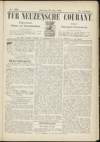 Ter Neuzensche Courant. Algemeen Nieuws- en Advertentieblad voor Zeeuwsch-Vlaanderen / Neuzensche Courant ... (idem) / (Algemeen) nieuws en advertentieblad voor Zeeuwsch-Vlaanderen 1878-06-22