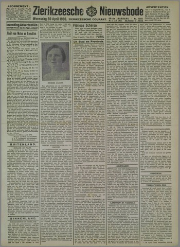 Zierikzeesche Nieuwsbode 1930-04-30