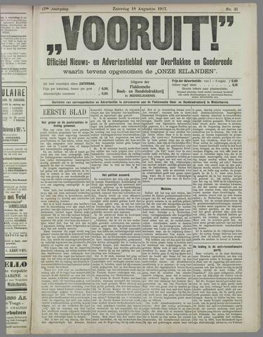 """""""Vooruit!""""Officieel Nieuws- en Advertentieblad voor Overflakkee en Goedereede 1917-08-18"""