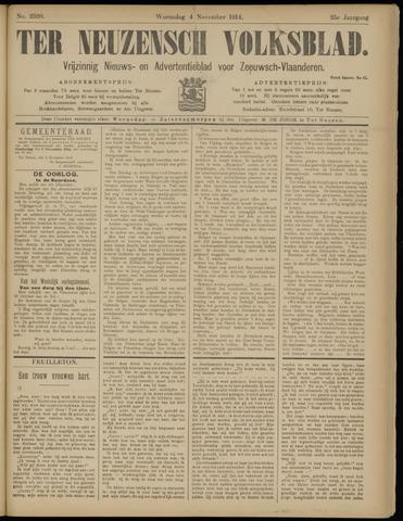 Ter Neuzensch Volksblad. Vrijzinnig nieuws- en advertentieblad voor Zeeuwsch- Vlaanderen / Zeeuwsch Nieuwsblad. Nieuws- en advertentieblad voor Zeeland 1914-11-04