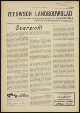 Zeeuwsch landbouwblad ... ZLM land- en tuinbouwblad 1954-07-17