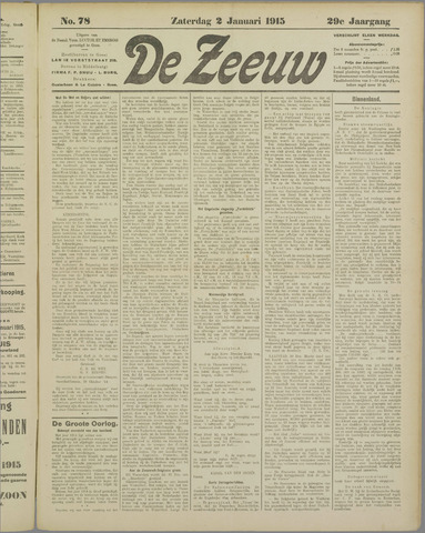 De Zeeuw. Christelijk-historisch nieuwsblad voor Zeeland 1915-01-02