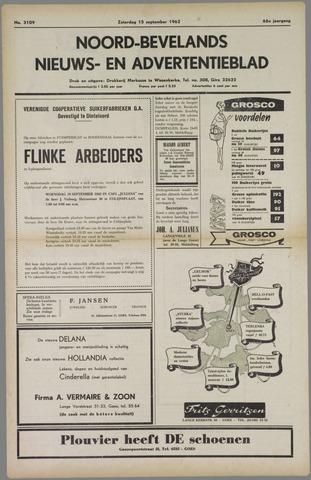Noord-Bevelands Nieuws- en advertentieblad 1962-09-15