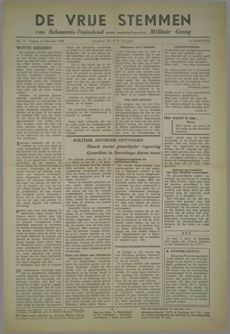 Vrije Stemmen van Schouwen-Duiveland, tevens mededeelingenblad Militair Gezag 1945-11-16