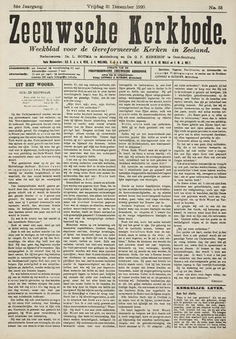 Zeeuwsche kerkbode, weekblad gewijd aan de belangen der gereformeerde kerken/ Zeeuwsch kerkblad 1920-12-31