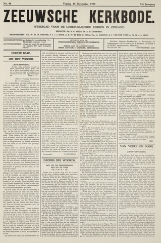 Zeeuwsche kerkbode, weekblad gewijd aan de belangen der gereformeerde kerken/ Zeeuwsch kerkblad 1938-11-18
