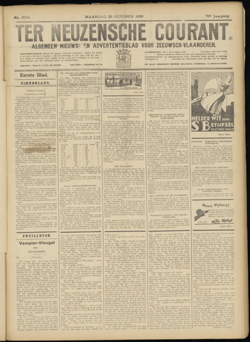 Ter Neuzensche Courant. Algemeen Nieuws- en Advertentieblad voor Zeeuwsch-Vlaanderen / Neuzensche Courant ... (idem) / (Algemeen) nieuws en advertentieblad voor Zeeuwsch-Vlaanderen 1930-10-20