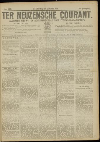 Ter Neuzensche Courant. Algemeen Nieuws- en Advertentieblad voor Zeeuwsch-Vlaanderen / Neuzensche Courant ... (idem) / (Algemeen) nieuws en advertentieblad voor Zeeuwsch-Vlaanderen 1915-01-28