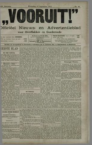"""""""Vooruit!""""Officieel Nieuws- en Advertentieblad voor Overflakkee en Goedereede 1915-09-15"""