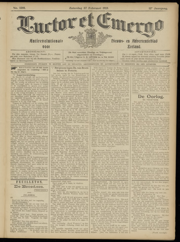 Luctor et Emergo. Antirevolutionair nieuws- en advertentieblad voor Zeeland / Zeeuwsch-Vlaanderen. Orgaan ter verspreiding van de christelijke beginselen in Zeeuwsch-Vlaanderen 1915-02-27