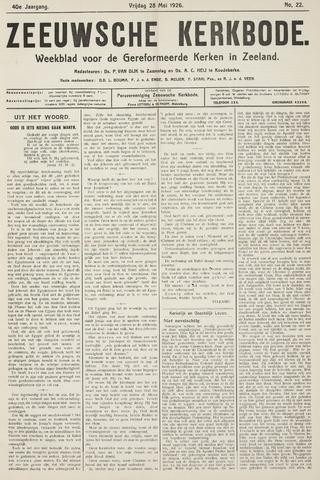 Zeeuwsche kerkbode, weekblad gewijd aan de belangen der gereformeerde kerken/ Zeeuwsch kerkblad 1926-05-28