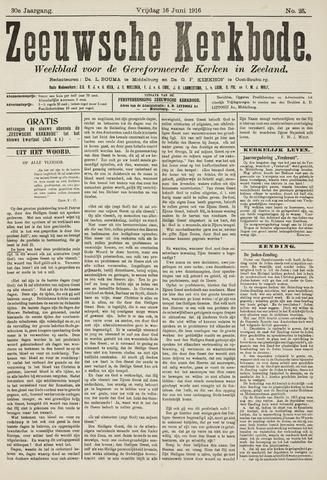 Zeeuwsche kerkbode, weekblad gewijd aan de belangen der gereformeerde kerken/ Zeeuwsch kerkblad 1916-06-16