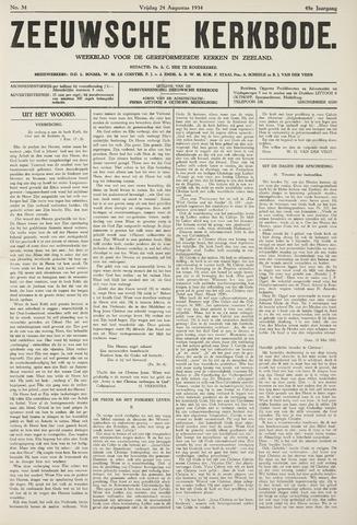 Zeeuwsche kerkbode, weekblad gewijd aan de belangen der gereformeerde kerken/ Zeeuwsch kerkblad 1934-08-24