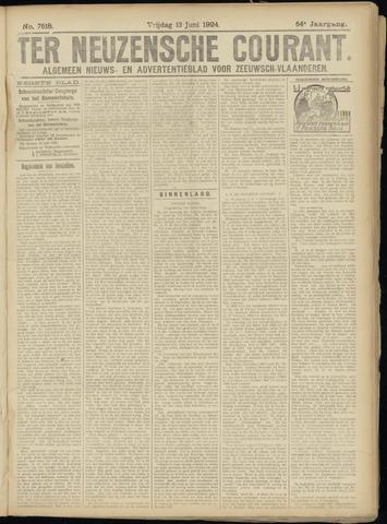 Ter Neuzensche Courant. Algemeen Nieuws- en Advertentieblad voor Zeeuwsch-Vlaanderen / Neuzensche Courant ... (idem) / (Algemeen) nieuws en advertentieblad voor Zeeuwsch-Vlaanderen 1924-06-13