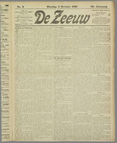 De Zeeuw. Christelijk-historisch nieuwsblad voor Zeeland 1916-10-03