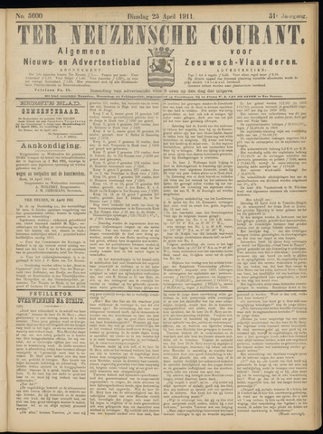 Ter Neuzensche Courant. Algemeen Nieuws- en Advertentieblad voor Zeeuwsch-Vlaanderen / Neuzensche Courant ... (idem) / (Algemeen) nieuws en advertentieblad voor Zeeuwsch-Vlaanderen 1911-04-25