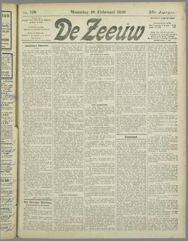 De Zeeuw. Christelijk-historisch nieuwsblad voor Zeeland 1918-02-18