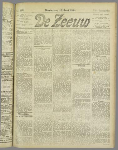 De Zeeuw. Christelijk-historisch nieuwsblad voor Zeeland 1921-06-16