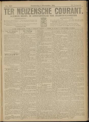 Ter Neuzensche Courant. Algemeen Nieuws- en Advertentieblad voor Zeeuwsch-Vlaanderen / Neuzensche Courant ... (idem) / (Algemeen) nieuws en advertentieblad voor Zeeuwsch-Vlaanderen 1914-11-05