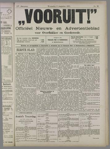 """""""Vooruit!""""Officieel Nieuws- en Advertentieblad voor Overflakkee en Goedereede 1911-08-09"""