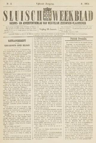 Sluisch Weekblad. Nieuws- en advertentieblad voor Westelijk Zeeuwsch-Vlaanderen 1874-01-16