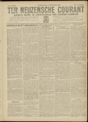 Ter Neuzensche Courant. Algemeen Nieuws- en Advertentieblad voor Zeeuwsch-Vlaanderen / Neuzensche Courant ... (idem) / (Algemeen) nieuws en advertentieblad voor Zeeuwsch-Vlaanderen 1942-02-04