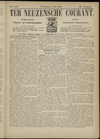 Ter Neuzensche Courant. Algemeen Nieuws- en Advertentieblad voor Zeeuwsch-Vlaanderen / Neuzensche Courant ... (idem) / (Algemeen) nieuws en advertentieblad voor Zeeuwsch-Vlaanderen 1882-07-05