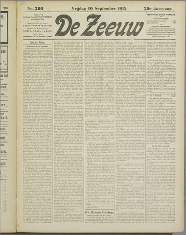 De Zeeuw. Christelijk-historisch nieuwsblad voor Zeeland 1915-09-10