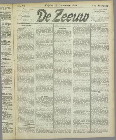 De Zeeuw. Christelijk-historisch nieuwsblad voor Zeeland 1918-12-13