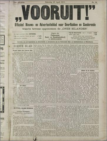 """""""Vooruit!""""Officieel Nieuws- en Advertentieblad voor Overflakkee en Goedereede 1917-04-21"""