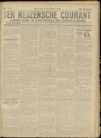 Ter Neuzensche Courant. Algemeen Nieuws- en Advertentieblad voor Zeeuwsch-Vlaanderen / Neuzensche Courant ... (idem) / (Algemeen) nieuws en advertentieblad voor Zeeuwsch-Vlaanderen 1924-11-03