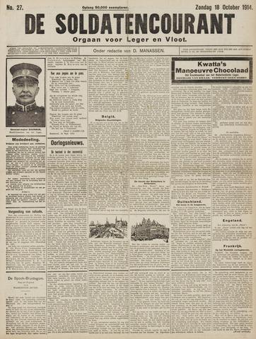 De Soldatencourant. Orgaan voor Leger en Vloot 1914-10-18