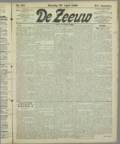 De Zeeuw. Christelijk-historisch nieuwsblad voor Zeeland 1920-04-27