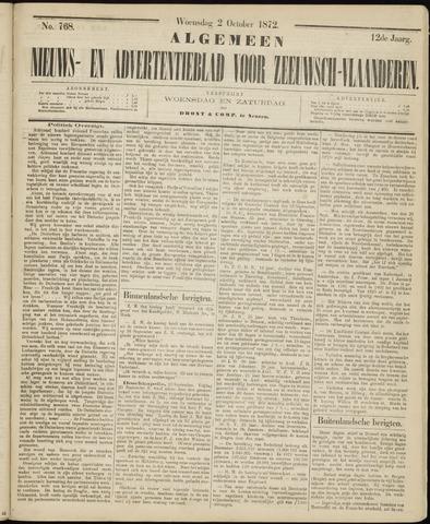 Ter Neuzensche Courant. Algemeen Nieuws- en Advertentieblad voor Zeeuwsch-Vlaanderen / Neuzensche Courant ... (idem) / (Algemeen) nieuws en advertentieblad voor Zeeuwsch-Vlaanderen 1872-10-02