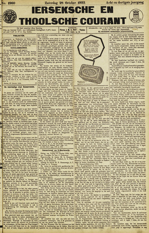 Ierseksche en Thoolsche Courant 1922-10-28