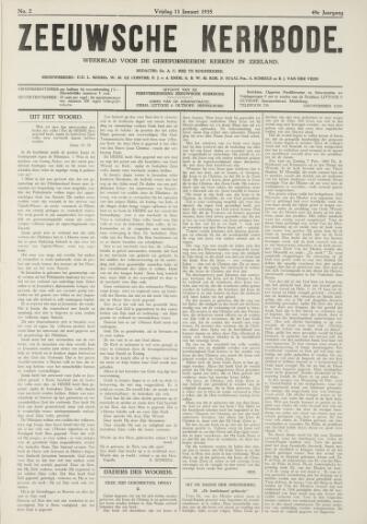 Zeeuwsche kerkbode, weekblad gewijd aan de belangen der gereformeerde kerken/ Zeeuwsch kerkblad 1935-01-11