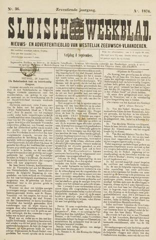 Sluisch Weekblad. Nieuws- en advertentieblad voor Westelijk Zeeuwsch-Vlaanderen 1876-09-01