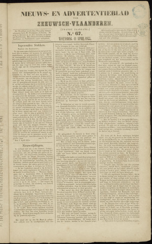 Ter Neuzensche Courant. Algemeen Nieuws- en Advertentieblad voor Zeeuwsch-Vlaanderen / Neuzensche Courant ... (idem) / (Algemeen) nieuws en advertentieblad voor Zeeuwsch-Vlaanderen 1855-04-11