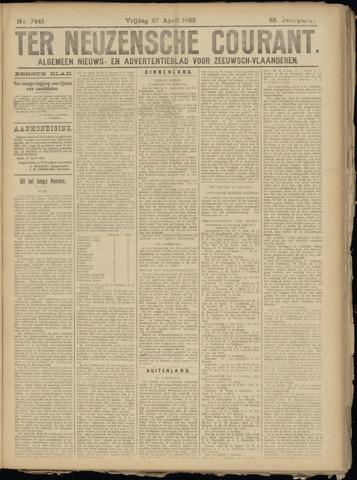 Ter Neuzensche Courant. Algemeen Nieuws- en Advertentieblad voor Zeeuwsch-Vlaanderen / Neuzensche Courant ... (idem) / (Algemeen) nieuws en advertentieblad voor Zeeuwsch-Vlaanderen 1923-04-27