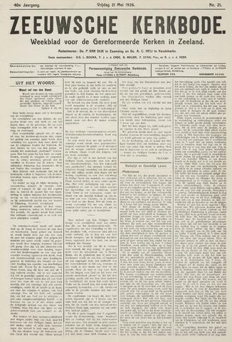 Zeeuwsche kerkbode, weekblad gewijd aan de belangen der gereformeerde kerken/ Zeeuwsch kerkblad 1926-05-21