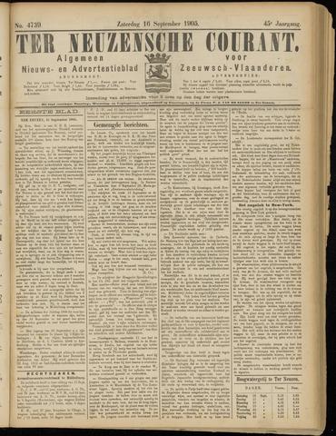 Ter Neuzensche Courant. Algemeen Nieuws- en Advertentieblad voor Zeeuwsch-Vlaanderen / Neuzensche Courant ... (idem) / (Algemeen) nieuws en advertentieblad voor Zeeuwsch-Vlaanderen 1905-09-16