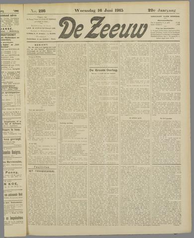 De Zeeuw. Christelijk-historisch nieuwsblad voor Zeeland 1915-06-16